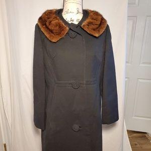 Vintage Lassie Maid Black Wool Coat w/ Mink Collar